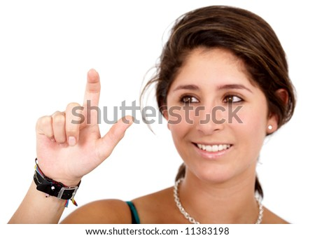 business woman touching the screen with her finger isolated over a white background - stock photo