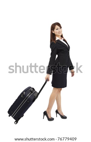 business woman traveling with suitcase