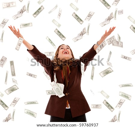 Business woman under a money rain - isolated over a white background - stock photo