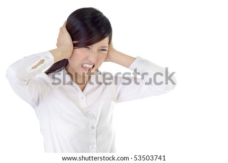 Business woman under stress on white background.
