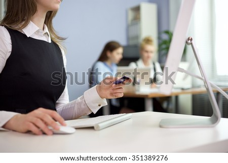 Business woman using credit card online/Online Purchase - stock photo