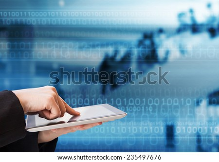 Business woman using digital tablet in the shopping mall  - stock photo