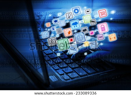 Business woman using laptop - stock photo