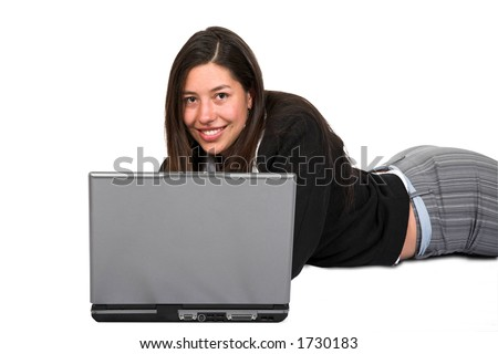 business woman using laptop over white