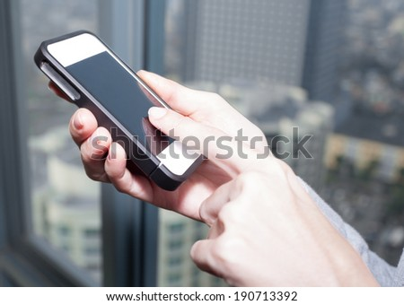 Business woman using mobile smart phone. - stock photo