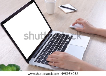 Business woman using mock up laptop, Mockup laptop screen for website design