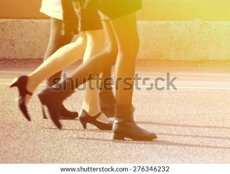 Business woman walking - stock photo