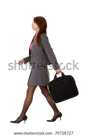 Business woman walking, full length pose isolated on white background. - stock photo
