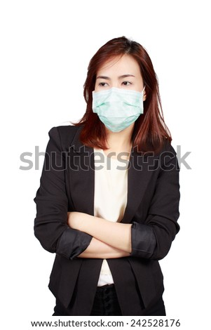 business woman wearing a face mask protect infected - stock photo