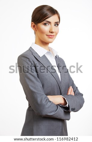 Business woman white isolated portrait,  crossed arms. Young happy female smiling model. - stock photo