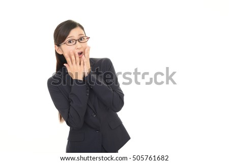 Business woman who is surprised