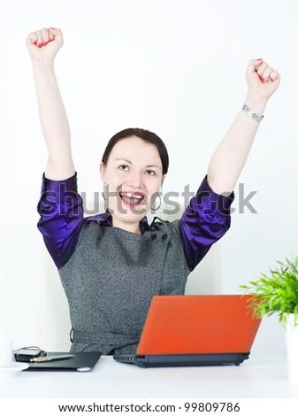 Business woman winner - stock photo