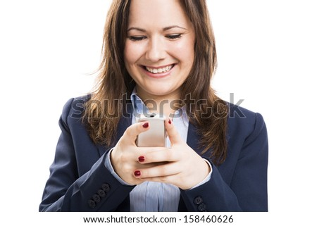 Business woman with a cellphone texting, isolated over white background - stock photo