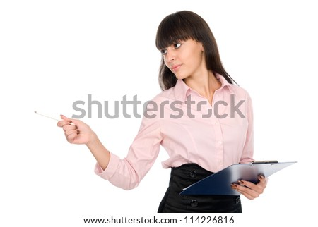 Business woman with a clipboard shows pen aside,isolated on a white background