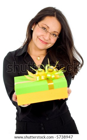 business woman with a gift isolated over a white background - stock photo