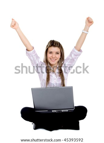 Business woman with a laptop isolated over a white background