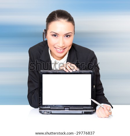 Business woman with a laptop with a opened screen. Insert your graphics on screen - very resourceful. - stock photo