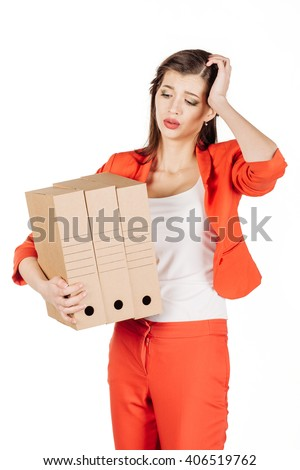 Business woman with a lot of paper folders.isolated on white background. business and lifestyle concept - stock photo