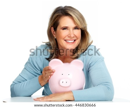 Business woman with a piggy bank.