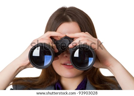 Business woman with a vision for the future - stock photo
