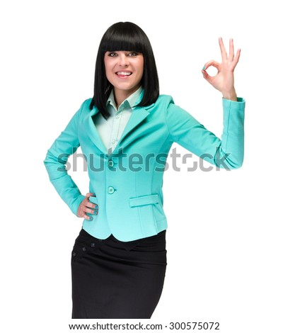 Business woman with an ok sign - isolated over a white background - stock photo