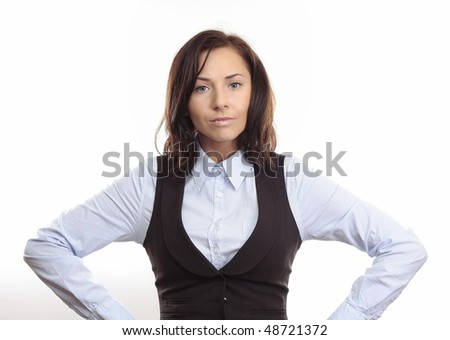 Business Woman with angry face expression and hands propped on the sides