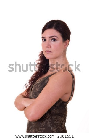 Business Woman with arms crossed over white background. - stock photo