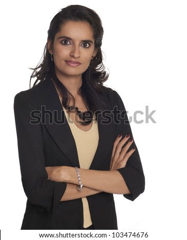 Business woman with arms folded isolated against white. - stock photo