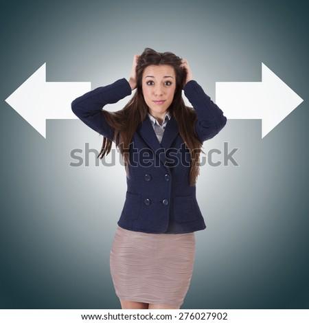 business woman with arrow keys - stock photo