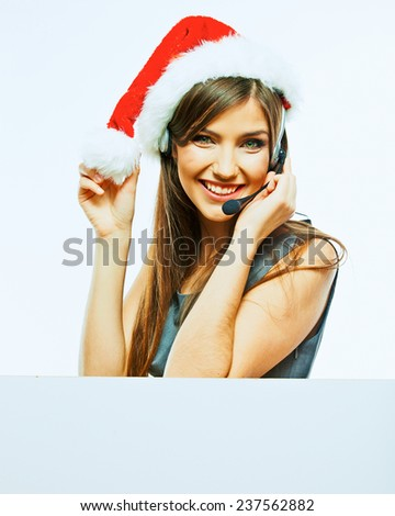 Business woman with banner, white board. Christmas Santa hat. Isolated portrait of business woman. - stock photo