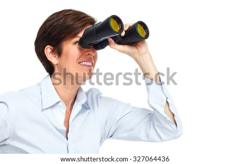 Business woman with binoculars. Isolated on white background. - stock photo