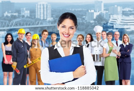 Business woman with blue folder and a group of business person. - stock photo