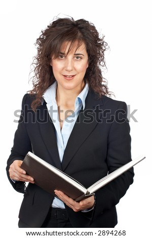 Business woman with book over a white background