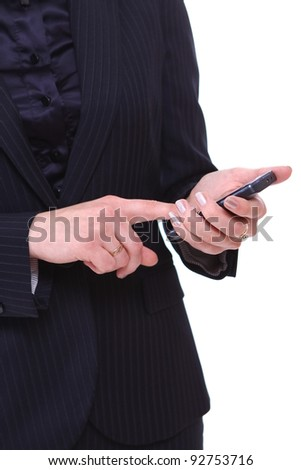 Business woman with cellphone over white background