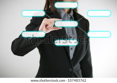 business woman with chart - stock photo