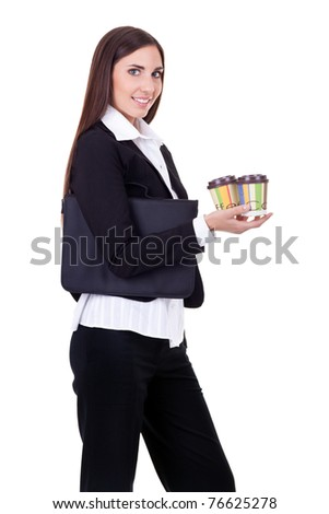 business woman with coffee to take, isolated on white background - stock photo