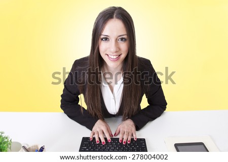 business woman with computer - stock photo
