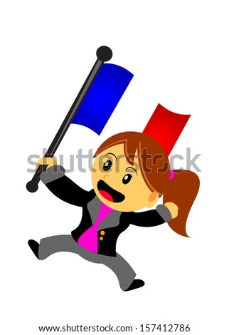 business woman with country flag