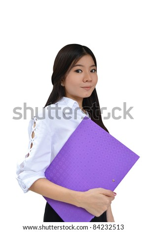 Business woman with document file isolated on white - stock photo