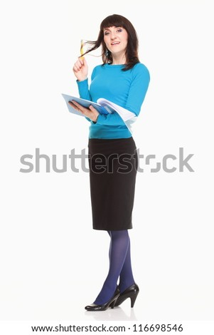 Business woman with documents and pen on white background