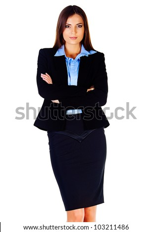 business woman with documents with a white background - stock photo