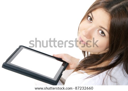 Business woman with electronic tablet touch pad computer one finger touch digital copy space blank white screen  on a white background - stock photo