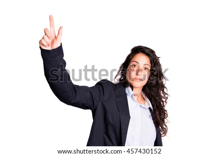 Business woman with finger on virtual screen isolated background