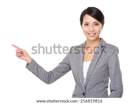 Business woman with finger point up - stock photo