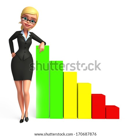 Business woman with graph