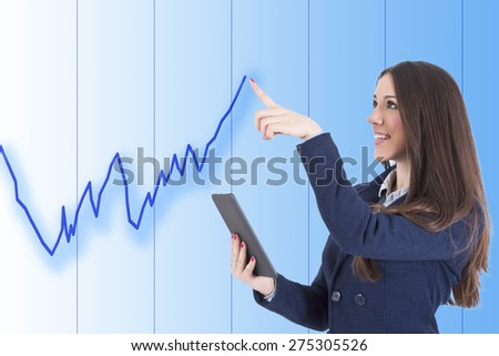 business woman with graph - stock photo