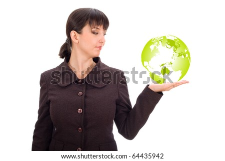 business woman with green planet in hand