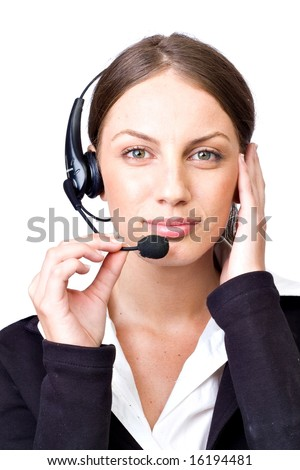 Business woman with head set