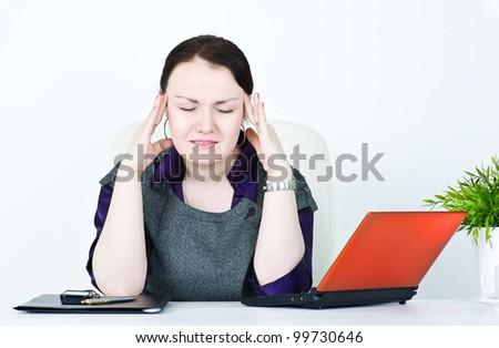 Business woman with headache - stock photo