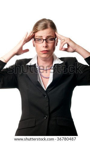 Business woman with headache on white background - stock photo